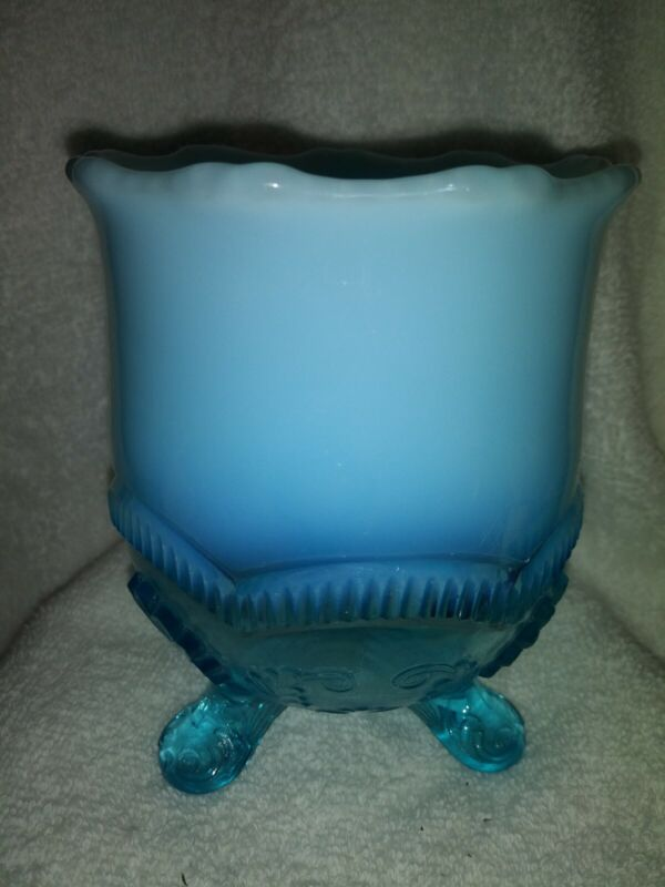 Vintage Opalescent Blue shells albany glass co