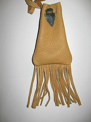 MB-01 DEERSKIN MEDICINE POUCH WITH STONE ARROWHEAD CLOSURE FREE SHIPPING INUSA