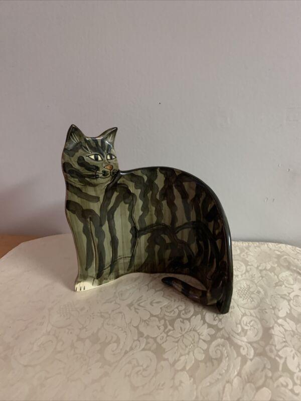 Mann Ceramic Cat Hand Painted Display Piece