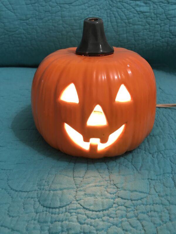Vintage Electric Ceramic Halloween Pumpkin Jack-O-Lantern