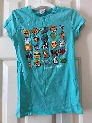Kalahari Resorts Girls Teal Green Emoji T-shirt Size Small, used for sale  Stamford