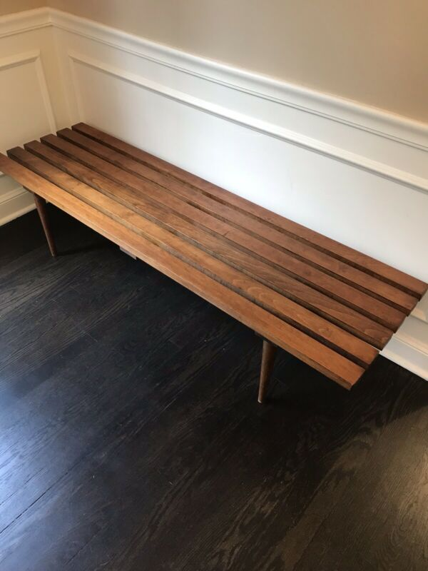 Mid Century Coffee Table Bench - Slatted