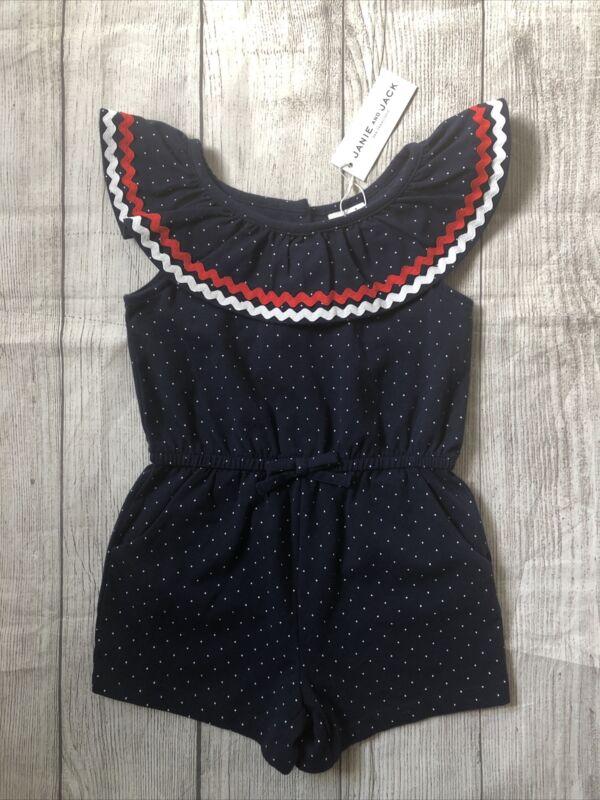 NWT JANIE & JACK Toddler Girls Polka Dot Navy Blue Jumpsuit Romper Size 3