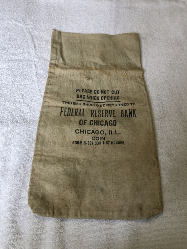 Federal Reserve Bank Of Chicago ILL Coin 1970 Canvas Money Coin Deposit Bank Bag