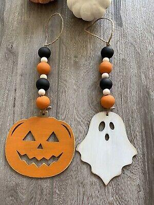 Handmade Set of 2 Wood Bead Hanging Decor Garland With Pumpkin Ghost Halloween