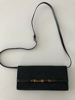 Authentic GUCCI Black Crossbody Handbag Maxi Wallet On Strap Monogram GG Bag
