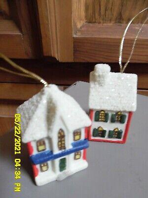 PAIR Vintage Miniature CERAMICChristmas Tree Ornament Little House