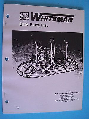 Mq Whiteman Bhn Power Trowel Parts List  10766  9-95