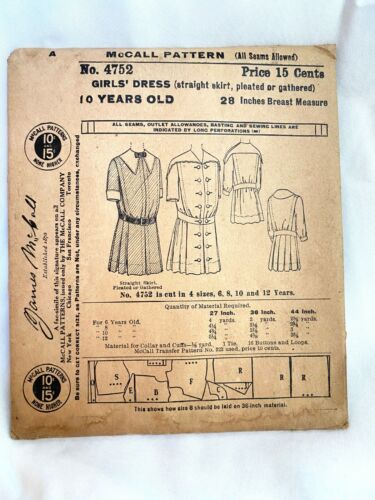 Antique 1910s McCall Sewing Pattern 4752 Girls