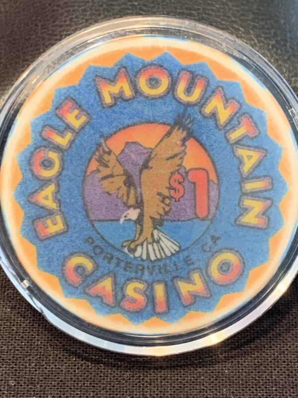 EAGLE MOUNTAIN CASINO CHIP $1 PORTERVILLE, CA POKER BLACKJACK