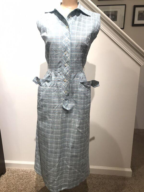 LOVLEY VTG 50s PLAID SHIRTWAIST DAY DRESS w BUTTON FLAP HIP POCKETS