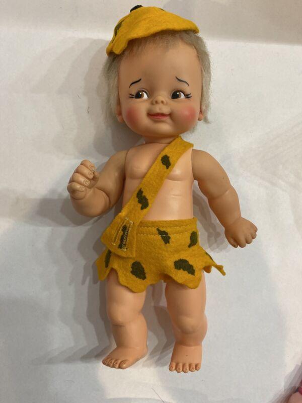"Vintage 1960s FLINTSTONES BAM BAM Doll, 12"" tall by Ideal Hanna Barbera"