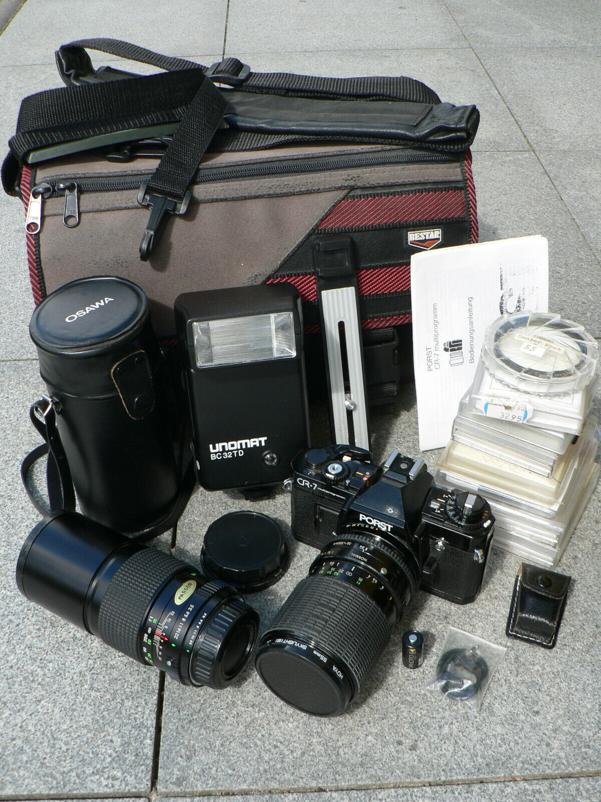 Porst CR7 Multiprogramm Spiegelreflexkamera mit Sigma Zoom Objekit viel Zubehör