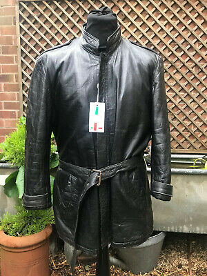 Italian leather belted zip 3/4 jacket size small