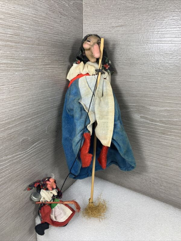 Kitchen Witch Doll w/ Baby Witch Vintage Scandinavian Figurine Broomstick Creepy