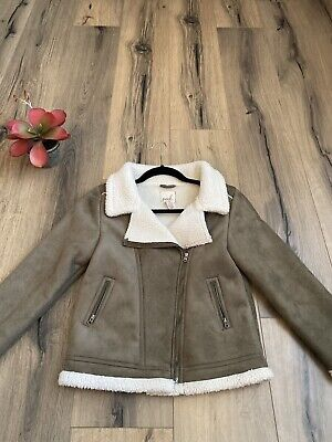 Girls Sherpa Lined Jacket (PEEK Nordstrom Girls Jacket Coat XL 10 Sherpa Lined Suede Jacket)