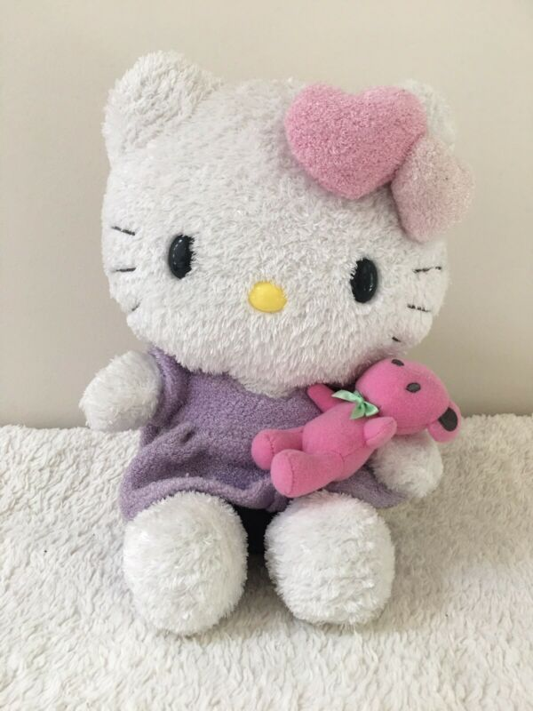 "Hello Kitty 9"" 2009 Plush Purple Dress Pink Bear Kawaii Japan Collectible Toy"