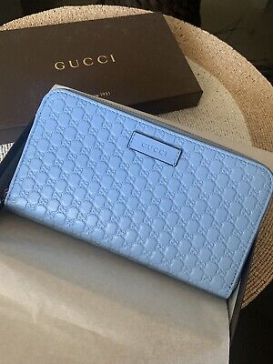 GUCCI Women's 449391 Blue Leather Micro GG Guccissima Zip Around Wallet $795 NEW