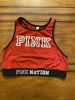 Victoria Secret Pink Nation Sports Bra Red Black White Size Medium
