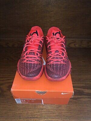"KD 8 VIII ""Bright Crimson"" Red Orange Basketball Shoes Size 9.5"