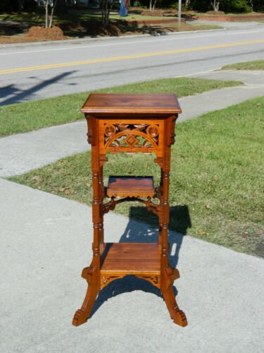 walnut Victorian Eastlake Fern Stand Lamp Table circa 1880