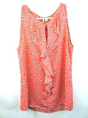 Elle Womans Orange Polka Dot Sleeveless Blouse Size XS