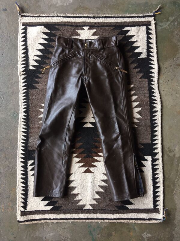 "1960s Vintage Langlitz Leather Motorcycle Moto Racing Pants Brown Trousers 30"""