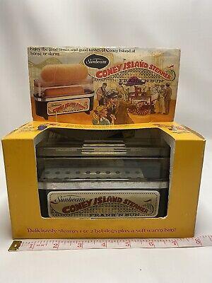 Vintage 1978 Sunbeam Coney Island Steamer Frank N Bun Hotdog Warmer Orig Box