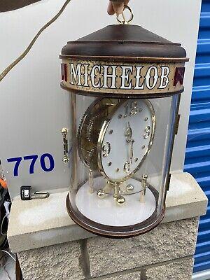 VINTAGE CRYSTAL MICHELOB HANGING ROTATING LIGHT MEDALLION BEER CLOCK