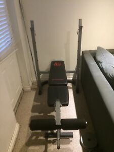 Weight Bench, Bar, Weights and Dumbells