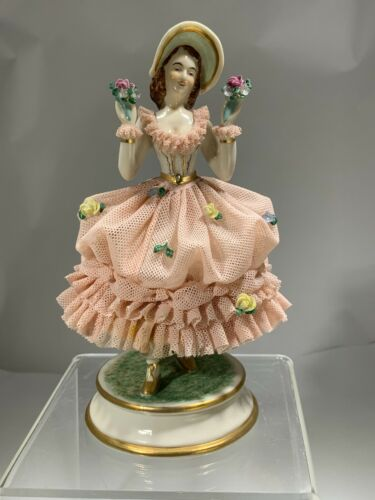 """Antique Porcelain Pink Lace MV Mueller & Co Germany """"Girl with Flowers"""" Figurine"""