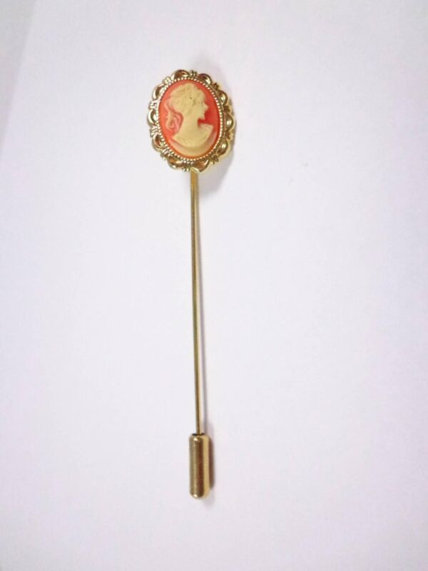 Vintage red beige gold tone hat pin
