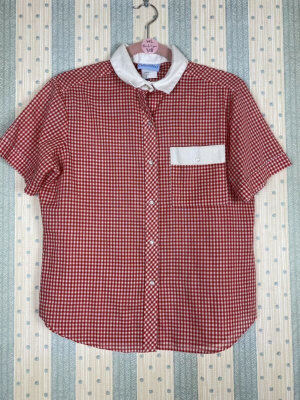 Ship'n Shore Collectibles Women's 14 Top Red/White Gingham Button Collar Pocket