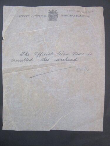 1916 WW1 Telegraph News Bulletin Dec.19 The Official News Cancelled f3-28