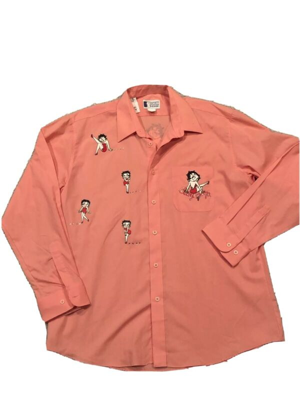 Vintage Betty Boop Shirt XL Embellished Button up Pink Bling Collectible NWOT