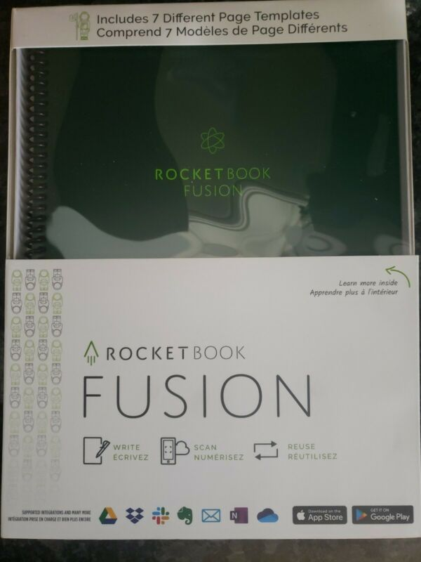 Rocketbook Fusion letter size 42 page smart Notebook dark green