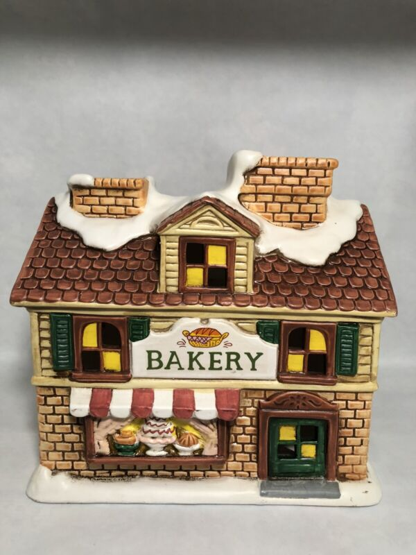 Lefton China Colonial Village Christmas Bakery Lighted 1988 06898   3103