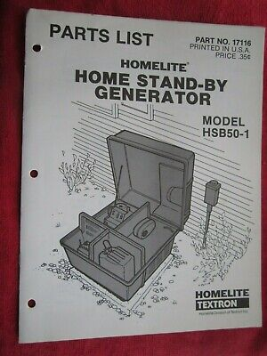 VINTAGE HOMELITE HSB50-1 HOME STAND-BY GENERATOR PARTS LIST MANUAL #17116 for sale  Shipping to India