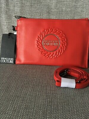 Versace Jeans Couture Red Clutch Handbag With Strap
