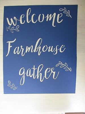NEW Primitive WELCOME FARMHOUSE GATHER new calligraphy cardstock STENCIL QTY - Calligraphy Stencil