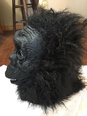 Adult Furry Gorilla Rubber Face Mask Animal Halloween Costume pullover black ](Rubber Face Masks Halloween Costume)