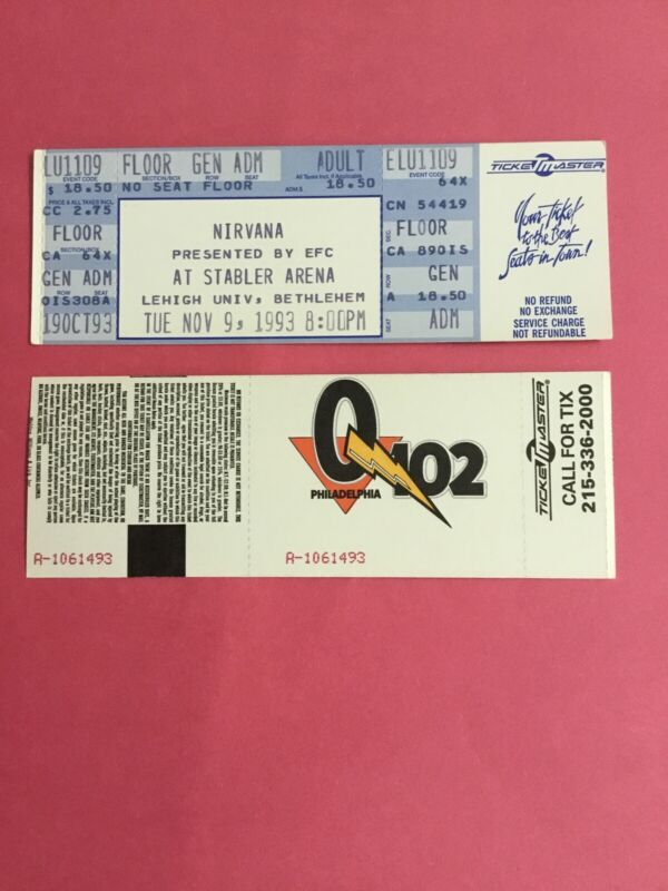 Nirvana Concert Ticket Nov 1993 Stabler Arena Gen Adm Original Ticketmaster