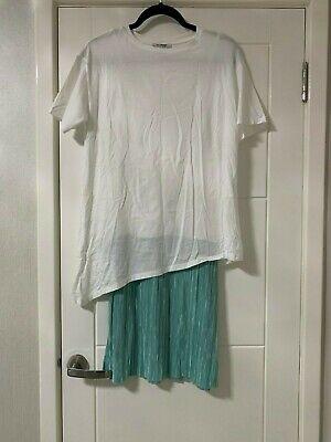 ZARA UNUSUAL ASYMETRIC T-SHIRT & MINT GREEN PLISSE SKIRT DRESS - UK MEDIUM