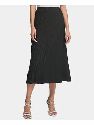 DKNY $79 Womens New 0204 Black Textured Maxi A-Line Casual Skirt M B+B