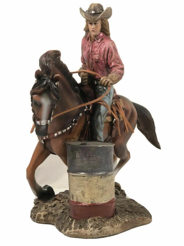 Barrel Racer Rodeo Girl Cowgirl Horse Statue Figurine Display Western Decor