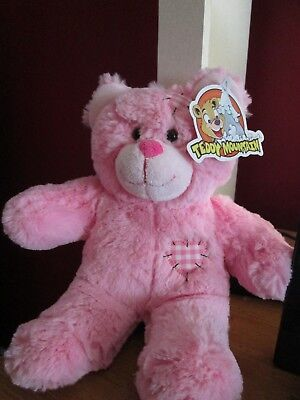 TEDDY MOUNTAIN PLUSH PINK BEAR WITH  PATCHES NWT MAKES TRAIN TRACK - Pink Train Track