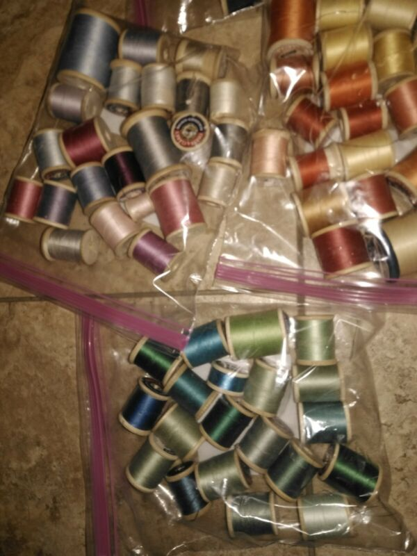 Lot 78 Vintage Coats & Clark Wooden Spools Of Thread Assorted Colors and Sizes
