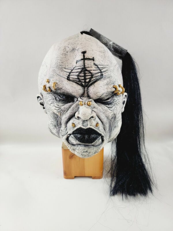 Mask Illusions Full Face Peircings & Black Ponytail Rubbr Halloween Monster Mask