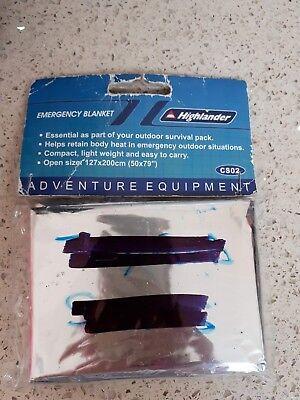 Highlander Emergency Blanket - reflective - ideal for hiking/camping  UNUSED