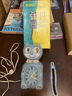 RARE Vintage Baby Blue Kit Cat Klock - Works Great collectible Clock Felix.
